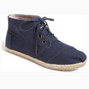 Toms navy blue Desert Botas canvas chukka boots